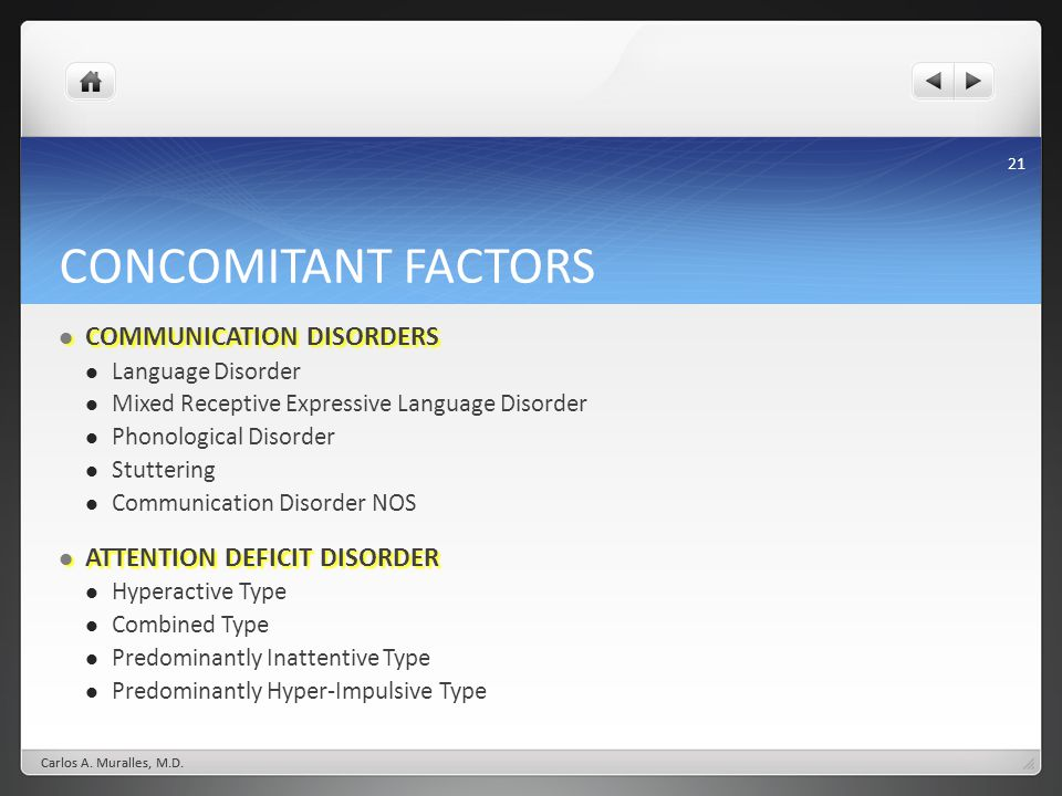 CONCOMITANT FACTORS COMMUNICATION DISORDERS ATTENTION DEFICIT DISORDER