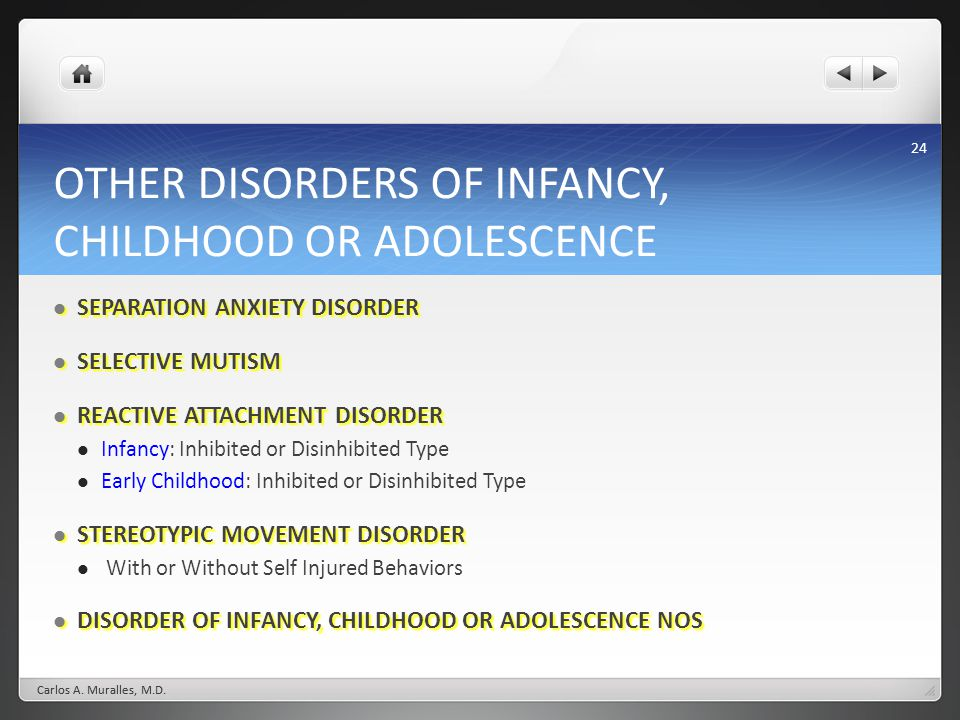 OTHER DISORDERS OF INFANCY, CHILDHOOD OR ADOLESCENCE