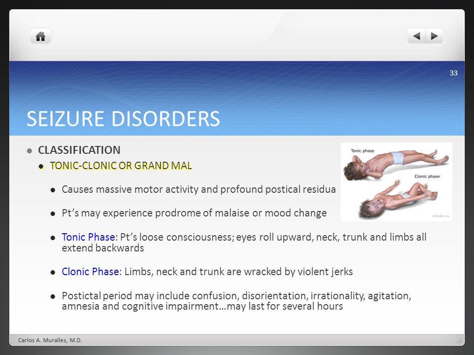 SEIZURE DISORDERS CLASSIFICATION TONIC-CLONIC OR GRAND MAL