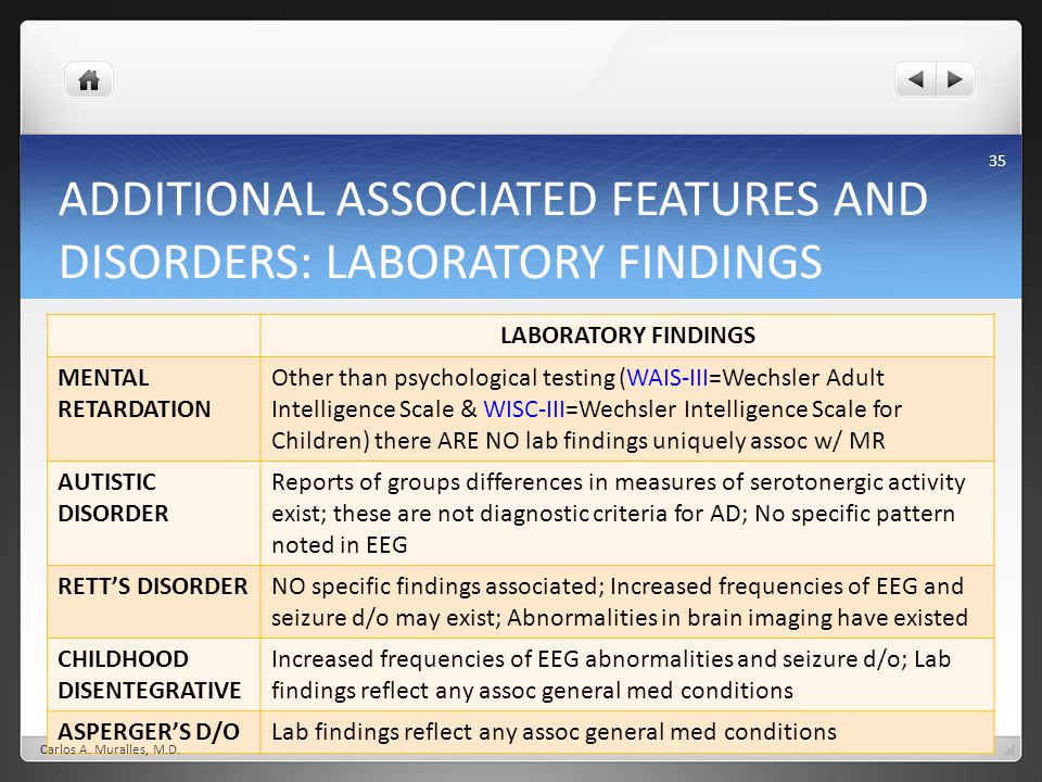 ADDITIONAL ASSOCIATED FEATURES AND DISORDERS: LABORATORY FINDINGS