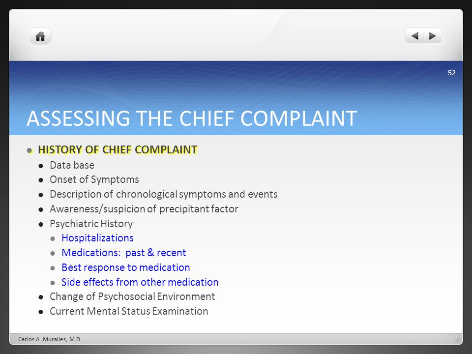ASSESSING THE CHIEF COMPLAINT
