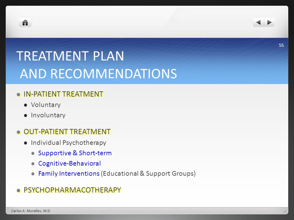 TREATMENT PLAN AND RECOMMENDATIONS