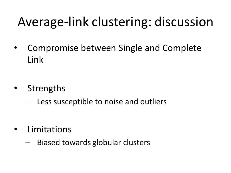 Average-link clustering: discussion
