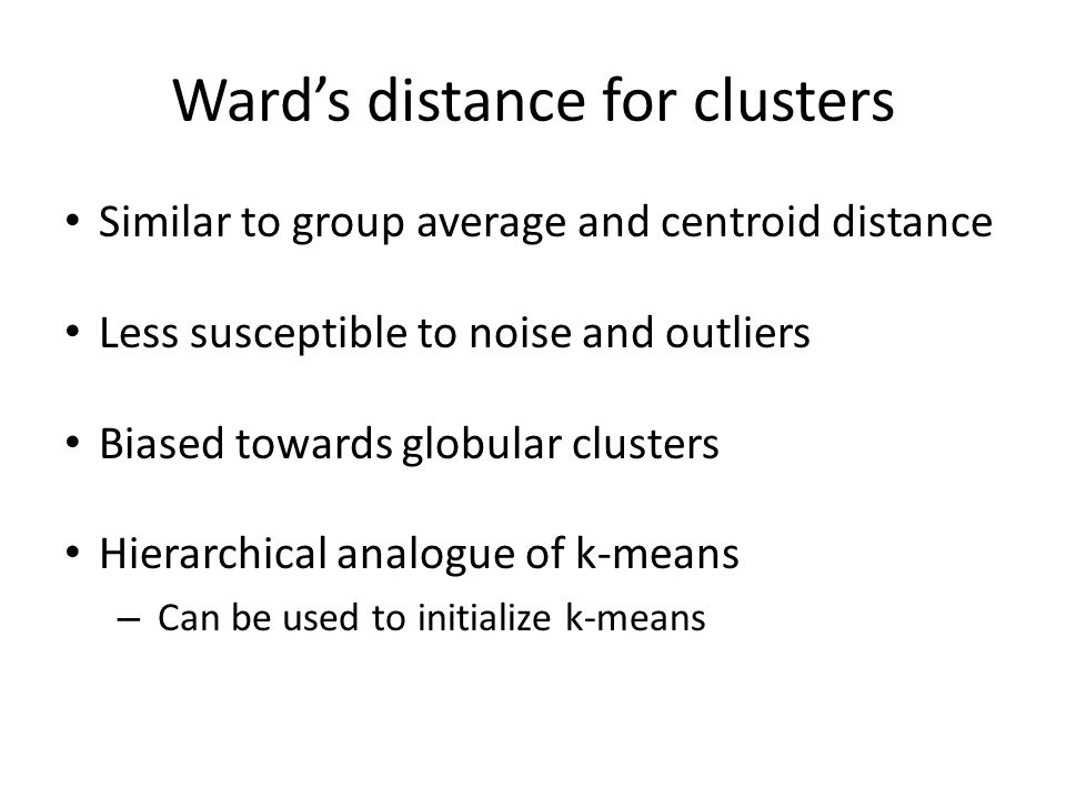 Ward's distance for clusters
