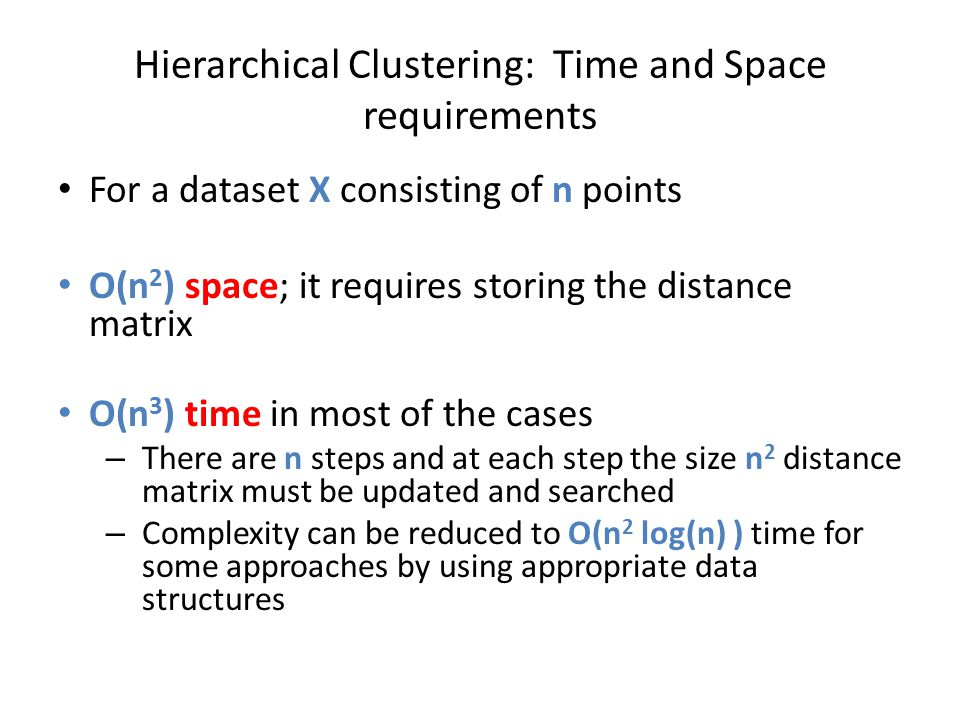 Hierarchical Clustering: Time and Space requirements