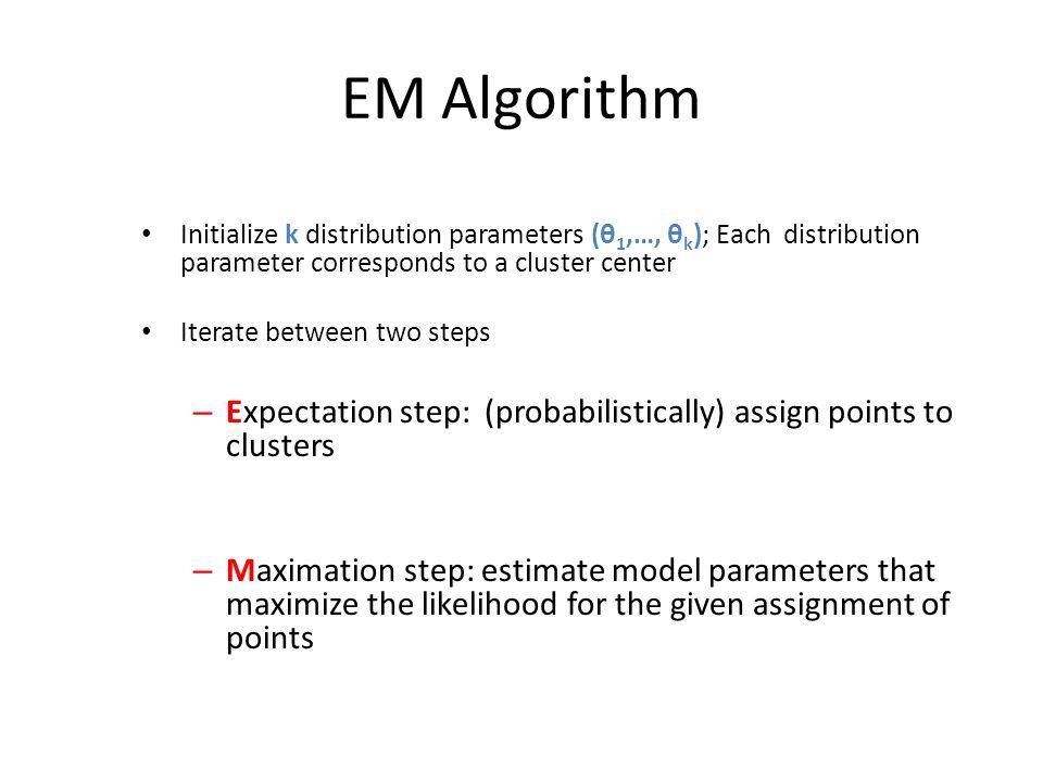 EM Algorithm Initialize k distribution parameters (θ1,…, θk); Each distribution parameter corresponds to a cluster center.