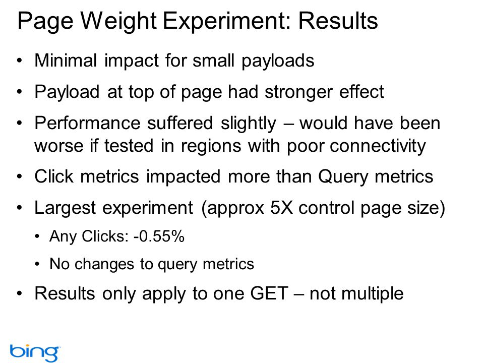 Page Weight Experiment: Results