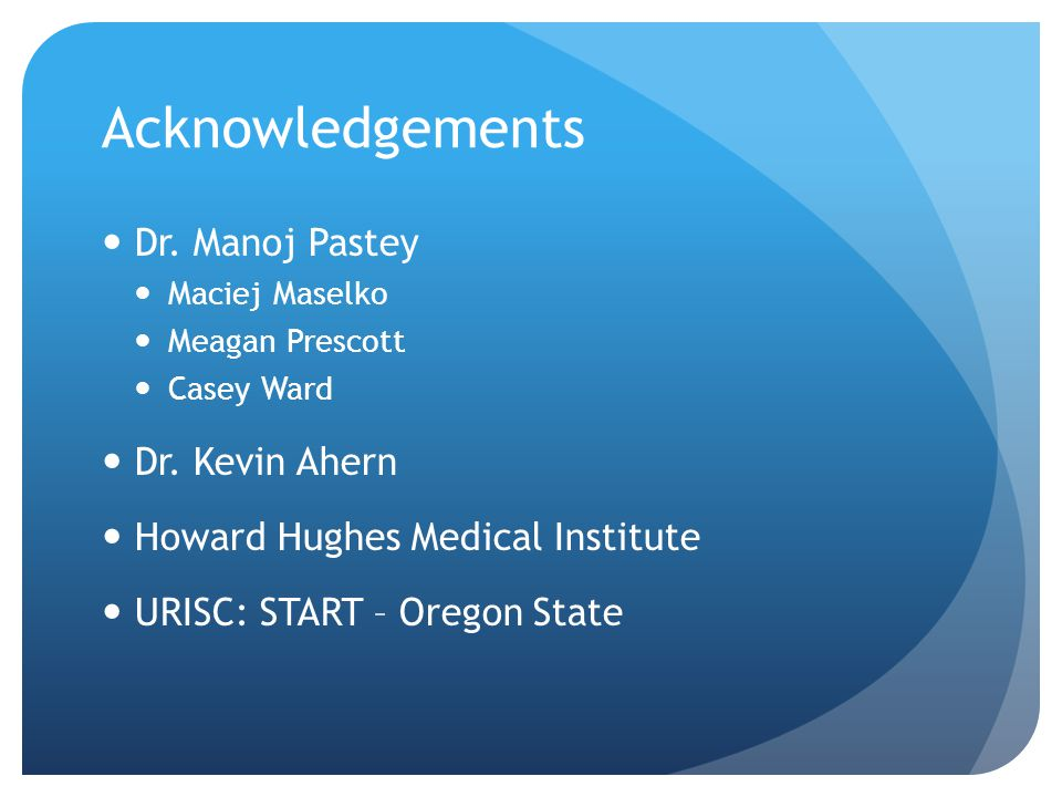 Acknowledgements Dr. Manoj Pastey Dr. Kevin Ahern