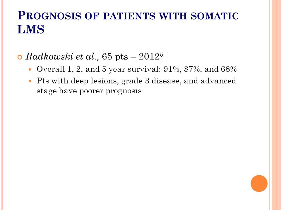 Prognosis of patients with somatic LMS