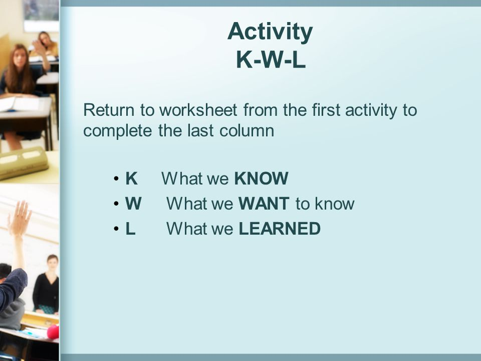 Activity K-W-L K What we KNOW W What we WANT to know L What we LEARNED