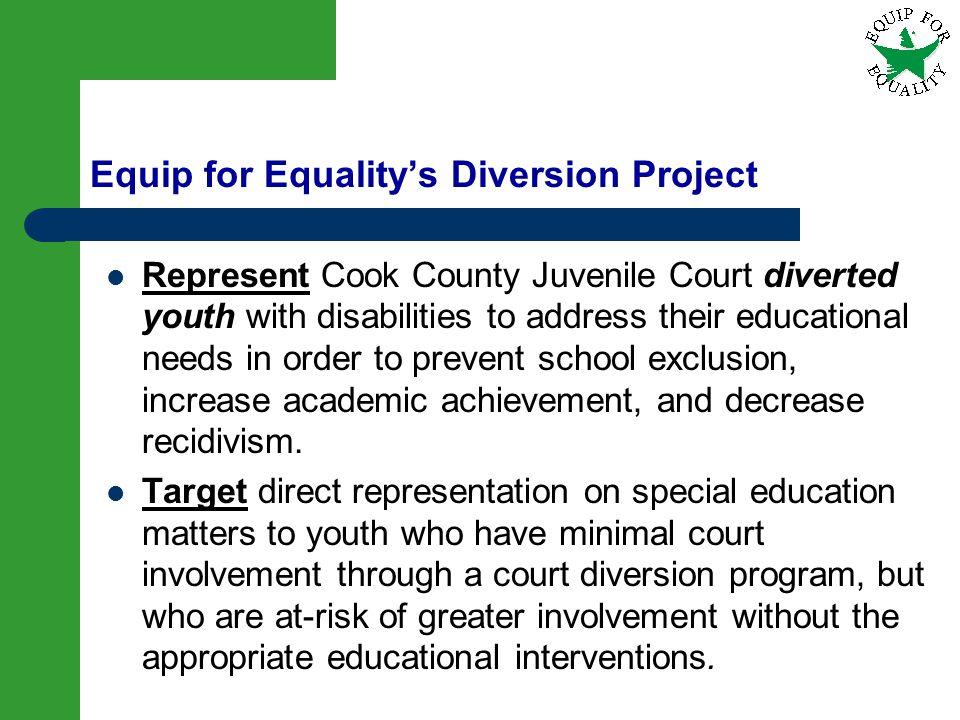 Equip for Equality's Diversion Project
