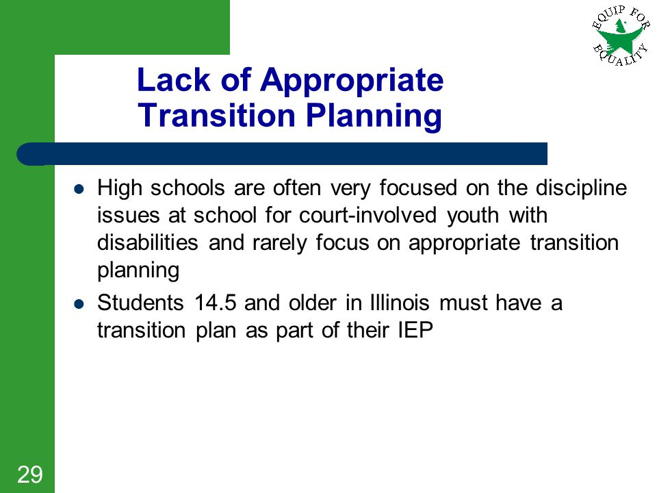 Lack of Appropriate Transition Planning