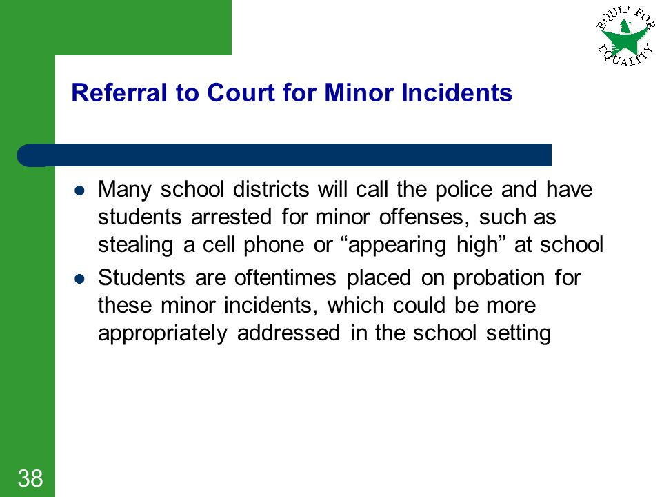Referral to Court for Minor Incidents