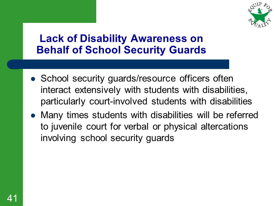 Lack of Disability Awareness on Behalf of School Security Guards