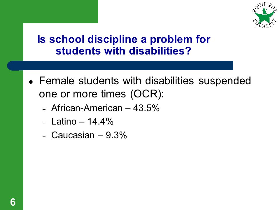 Is school discipline a problem for students with disabilities