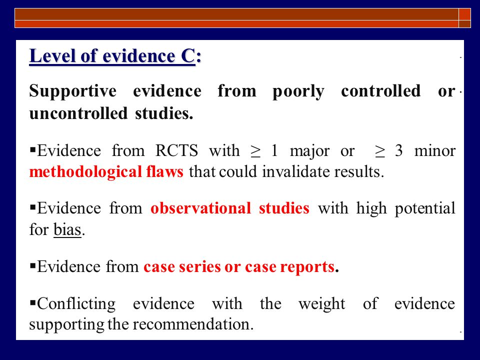 Level of evidence C: Supportive evidence from poorly controlled or uncontrolled studies.