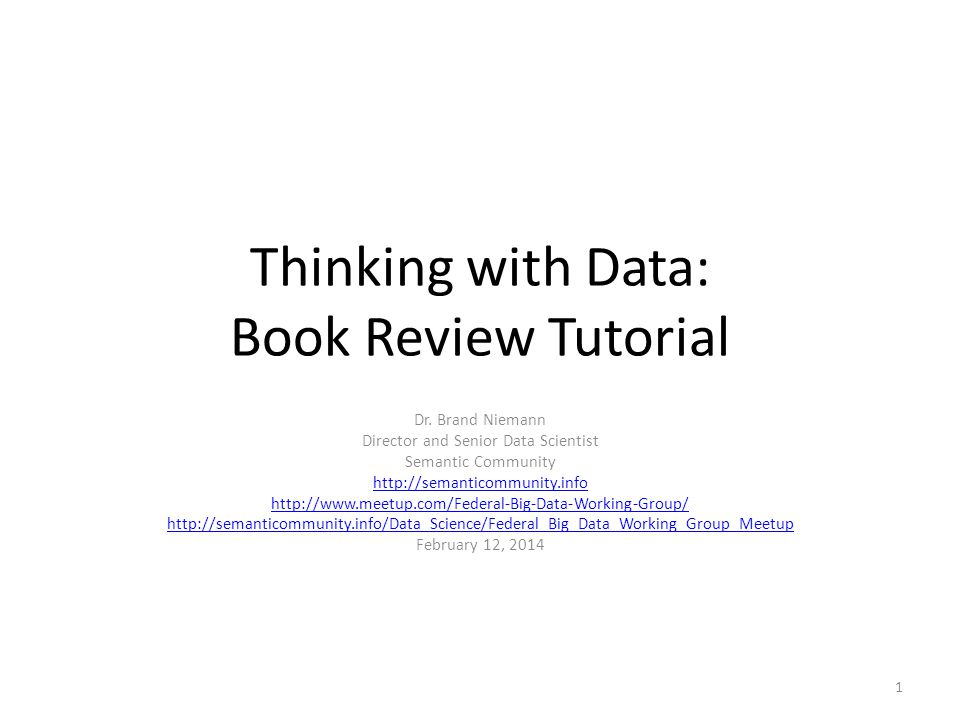 Thinking with Data: Book Review Tutorial