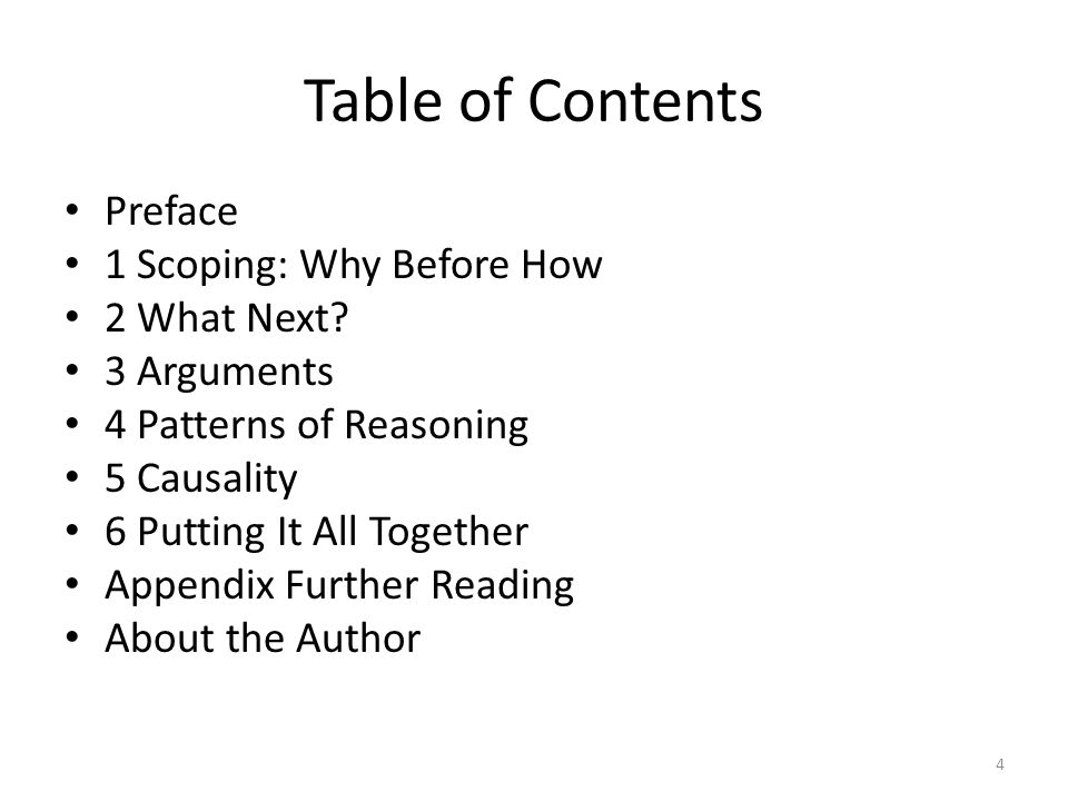 Table of Contents Preface 1 Scoping: Why Before How 2 What Next