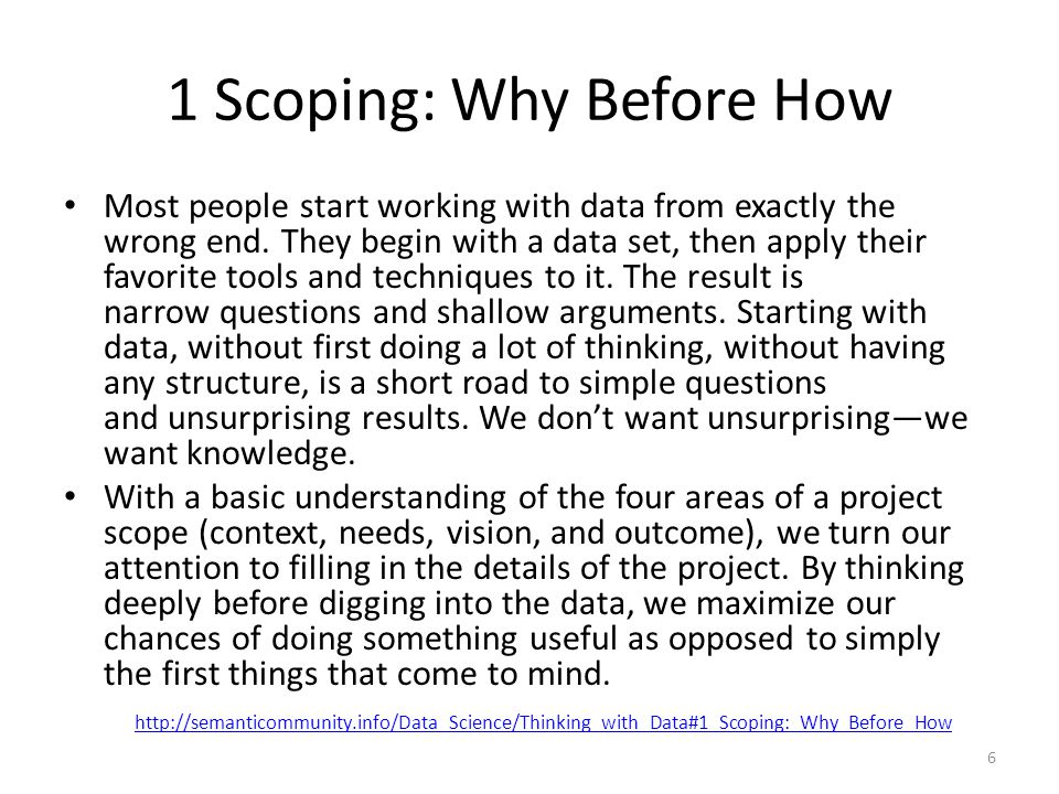 1 Scoping: Why Before How