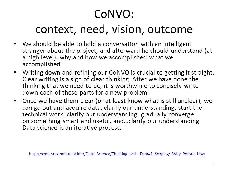 CoNVO: context, need, vision, outcome