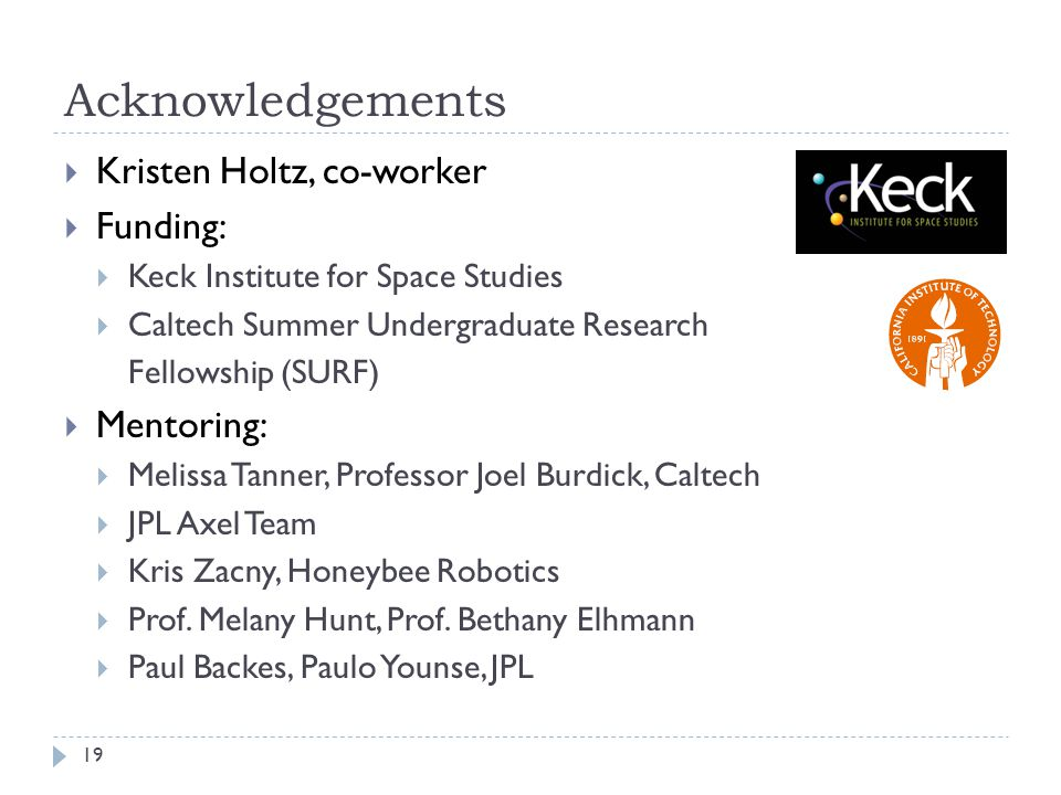 Acknowledgements Kristen Holtz, co-worker Funding: Mentoring: