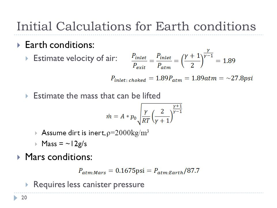 Initial Calculations for Earth conditions