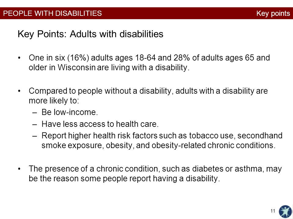 Key Points: Adults with disabilities