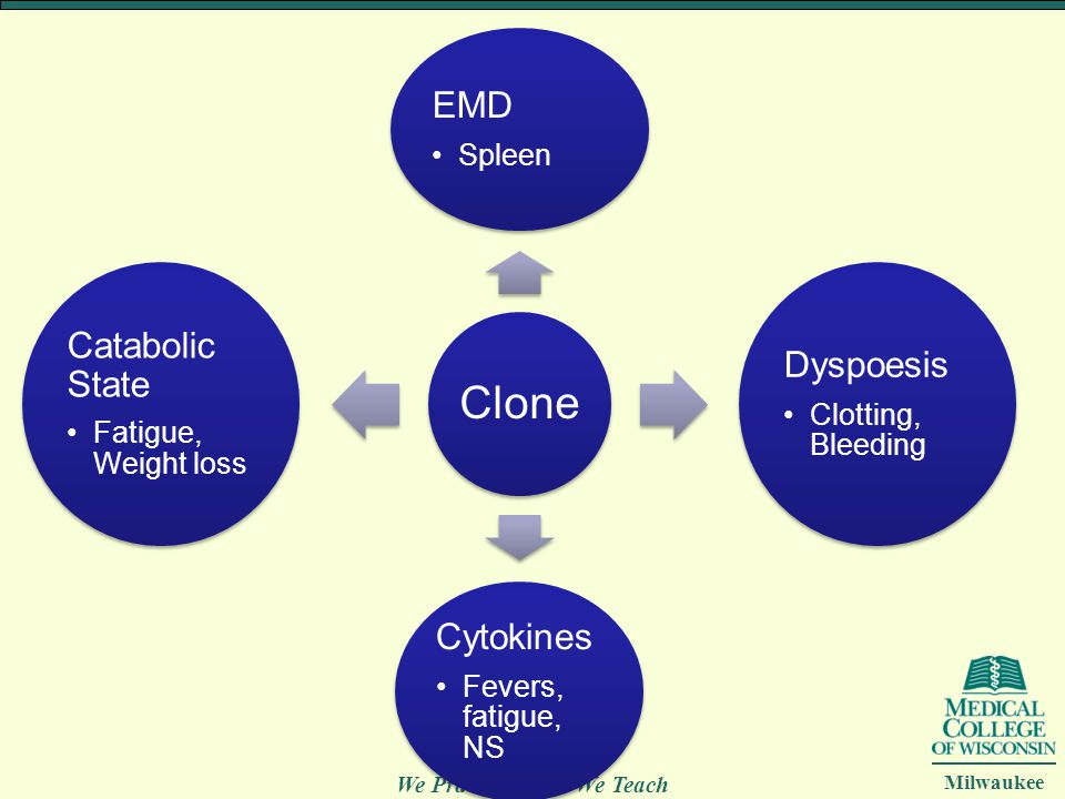 Clone EMD. Spleen. Dyspoesis. Clotting, Bleeding. Cytokines. Fevers, fatigue, NS. Catabolic State.