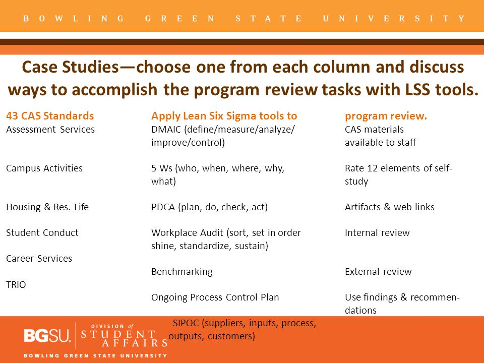 Case Studies—choose one from each column and discuss ways to accomplish the program review tasks with LSS tools.