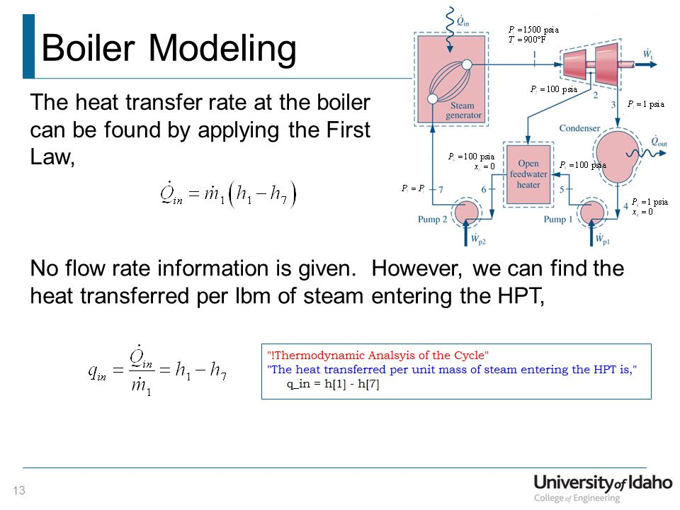 Boiler Modeling The heat transfer rate at the boiler can be found by applying the First Law,