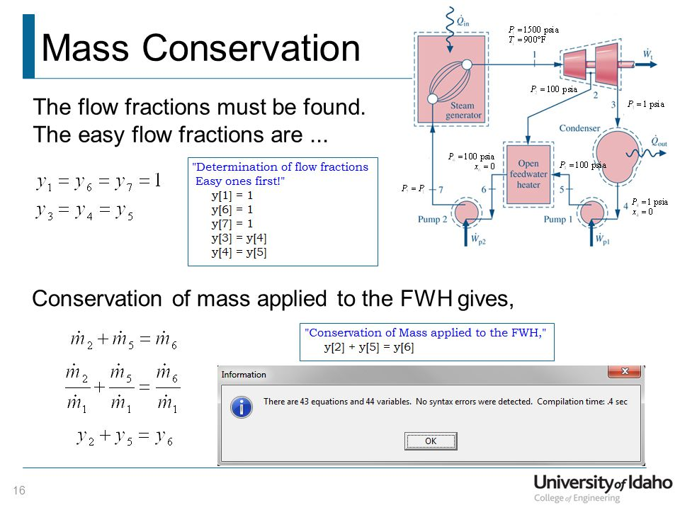 Mass Conservation The flow fractions must be found.