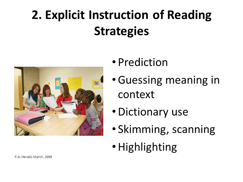 2. Explicit Instruction of Reading Strategies