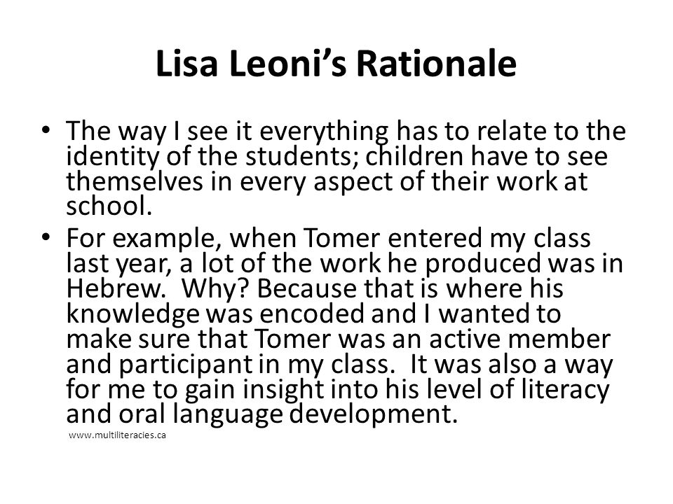 Lisa Leoni's Rationale