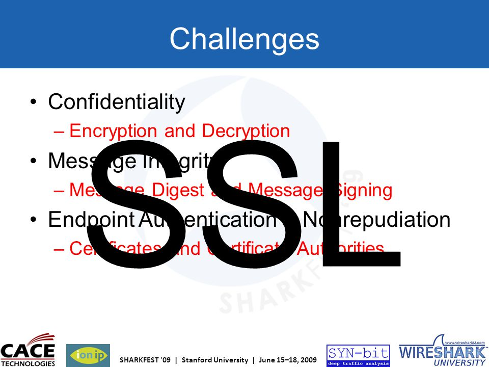 SSL Challenges Confidentiality Message Integrity