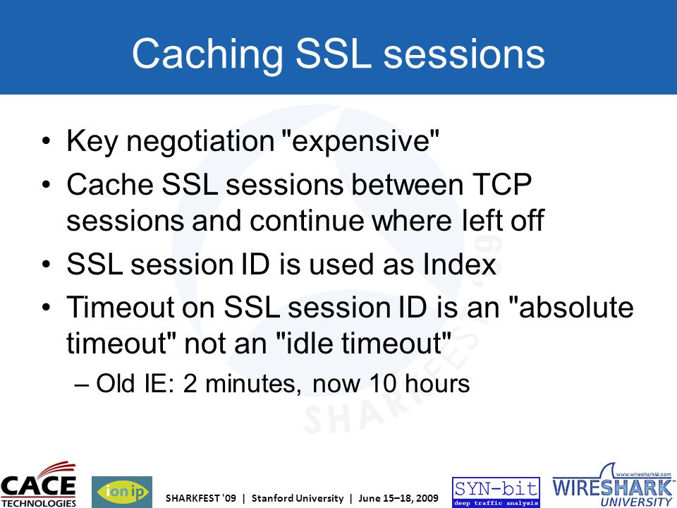 Caching SSL sessions Key negotiation expensive