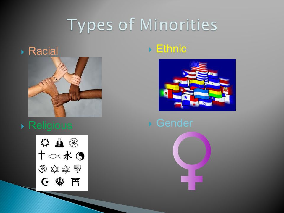 Types of Minorities Ethnic Racial Gender Religious