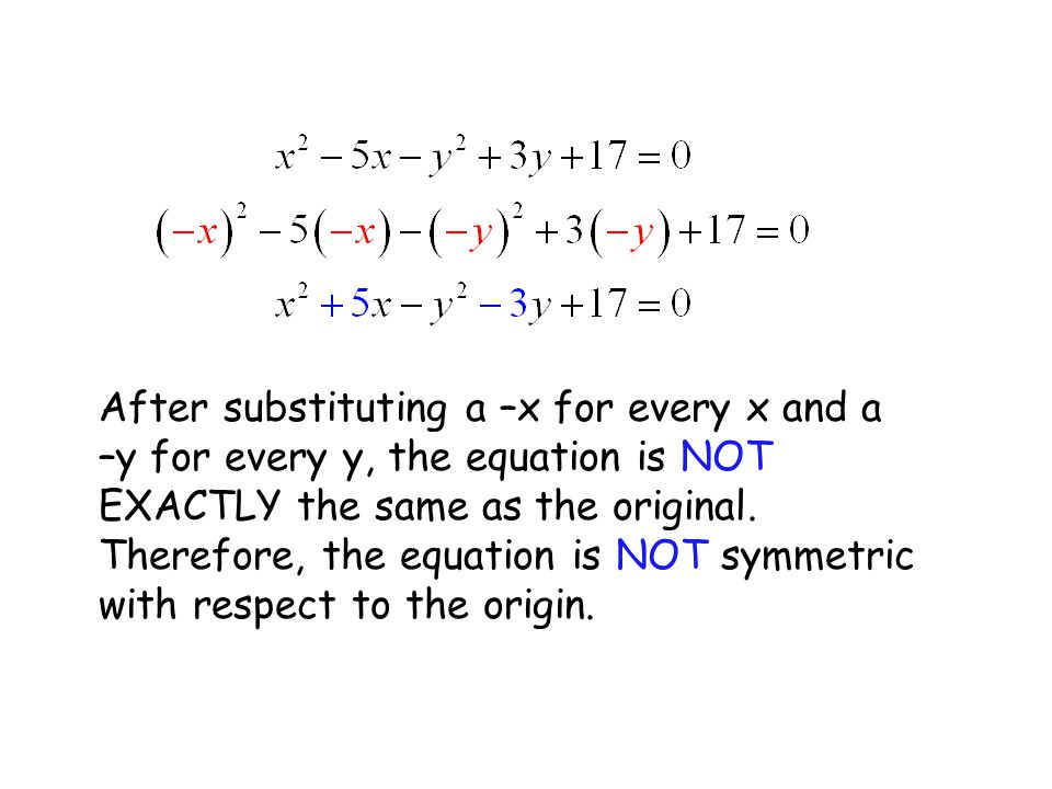 After substituting a –x for every x and a –y for every y, the equation is NOT EXACTLY the same as the original.