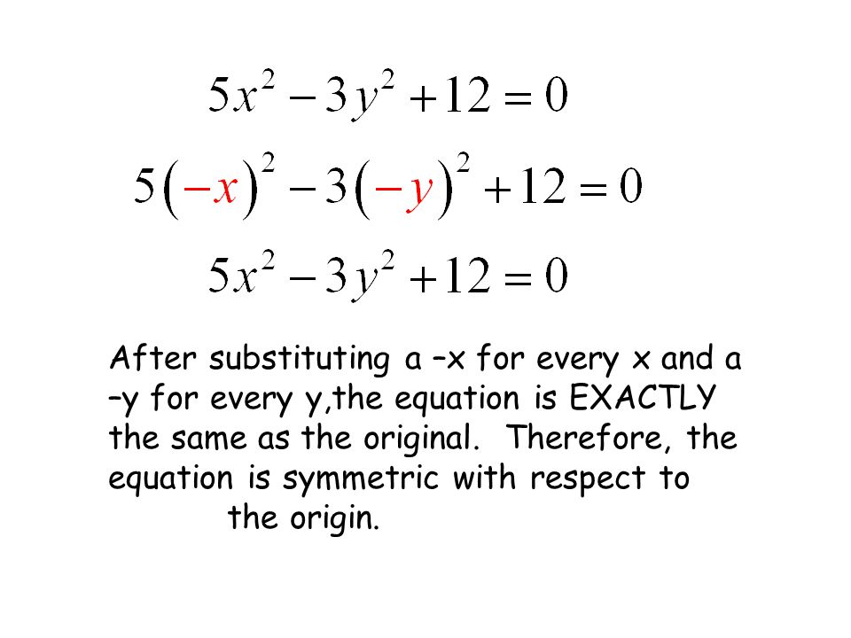 After substituting a –x for every x and a –y for every y,the equation is EXACTLY the same as the original.