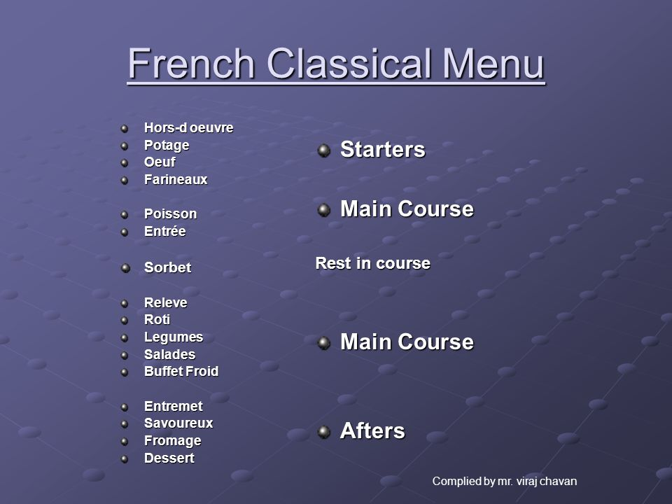 French Classical Menu Starters Main Course Afters Rest in course