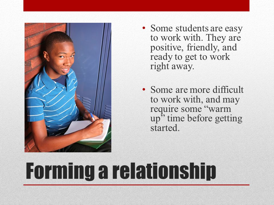 Forming a relationship