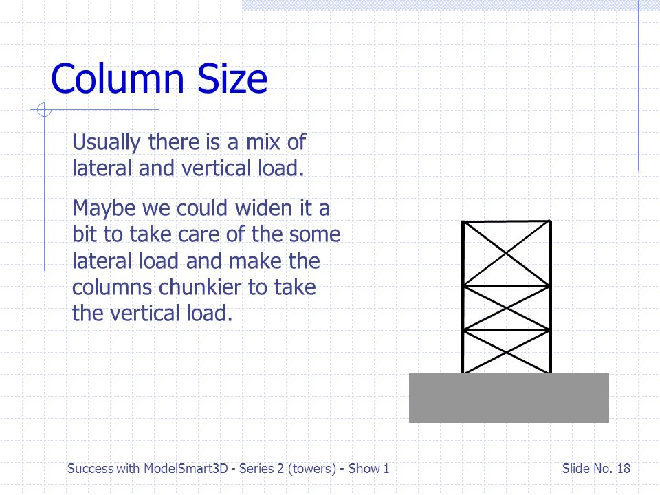 Column Size Usually there is a mix of lateral and vertical load.