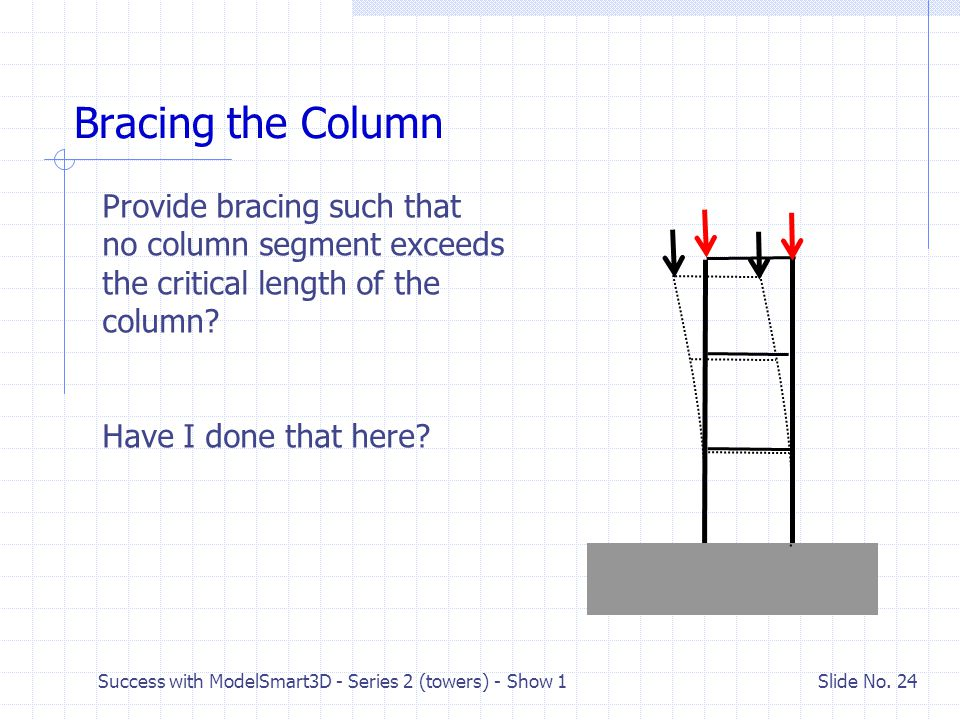 Bracing the Column Provide bracing such that no column segment exceeds the critical length of the column