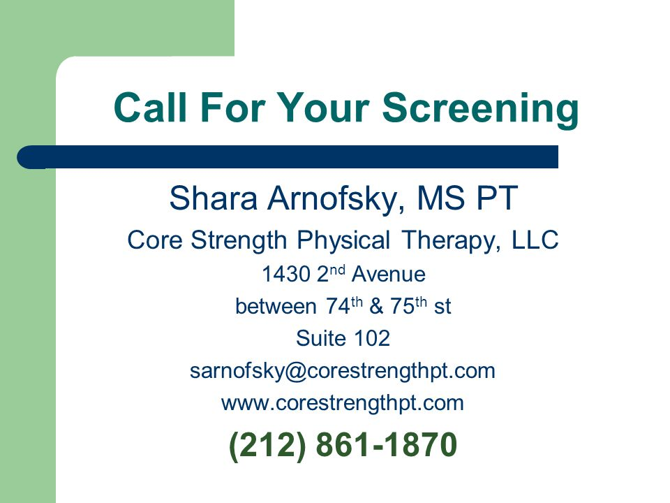 Call For Your Screening