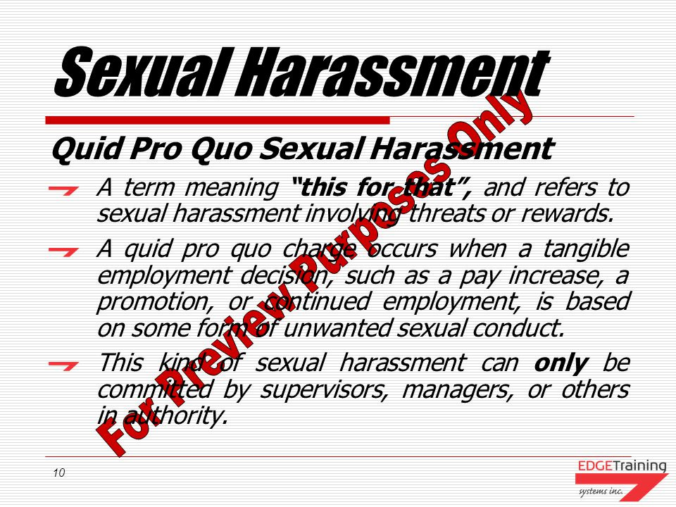 Sexual Harassment Quid Pro Quo Sexual Harassment