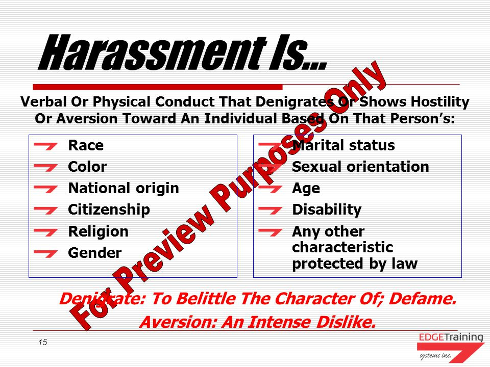 Harassment Is… Denigrate: To Belittle The Character Of; Defame.
