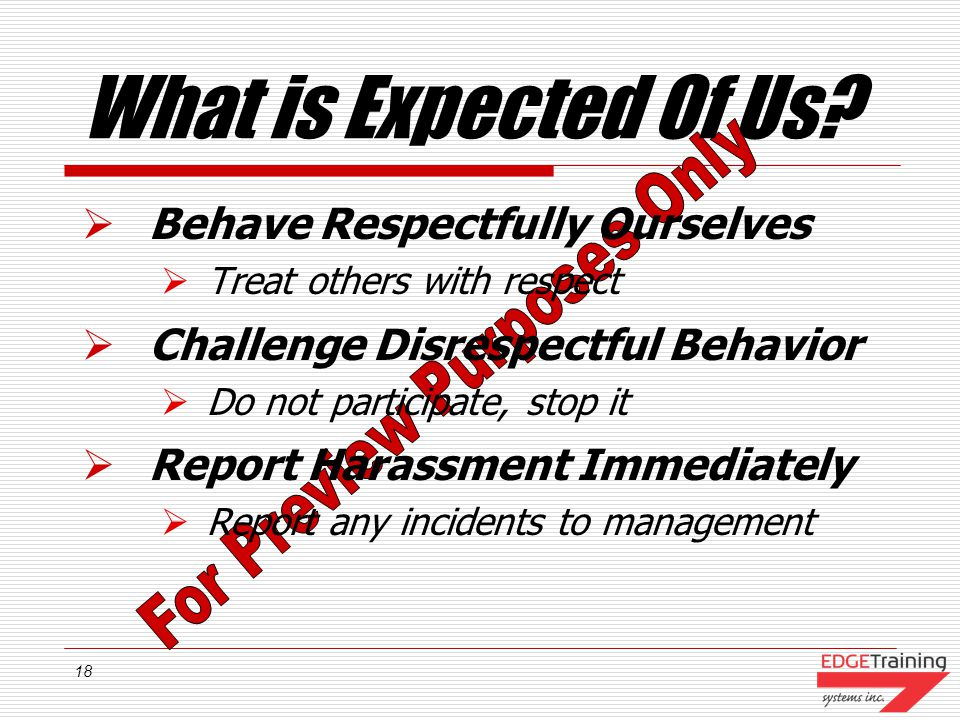What is Expected Of Us Behave Respectfully Ourselves