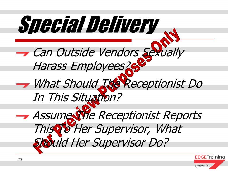 Special Delivery Can Outside Vendors Sexually Harass Employees
