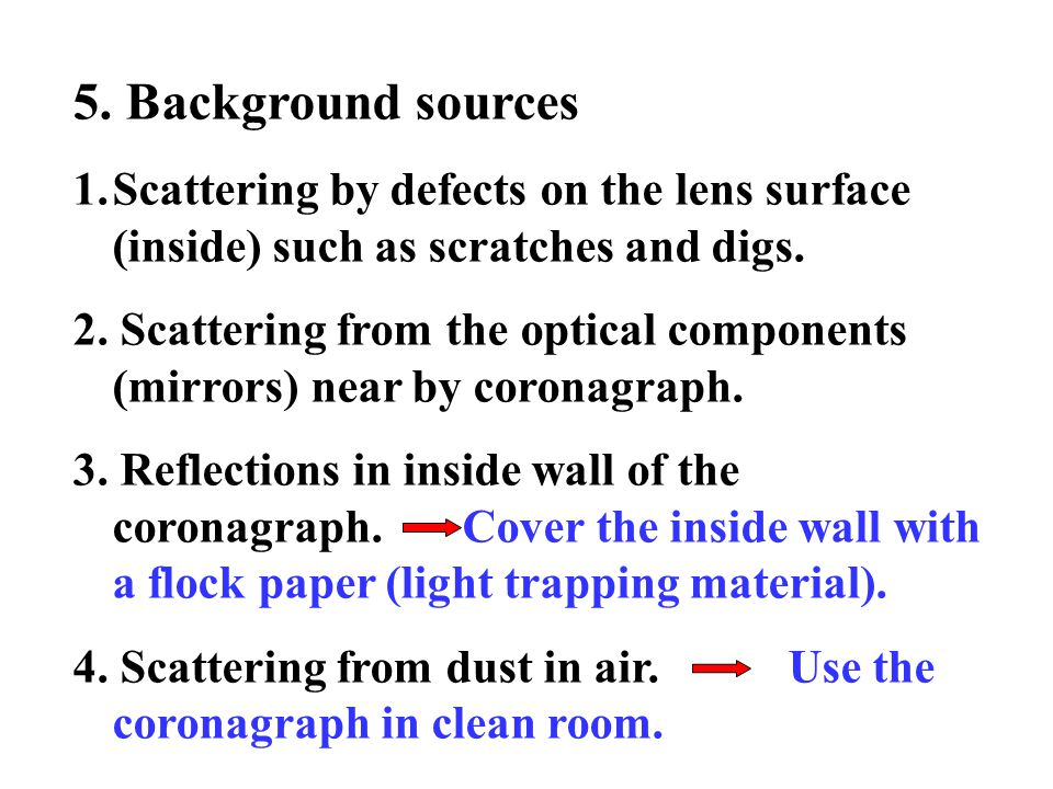 5. Background sources Scattering by defects on the lens surface (inside) such as scratches and digs.