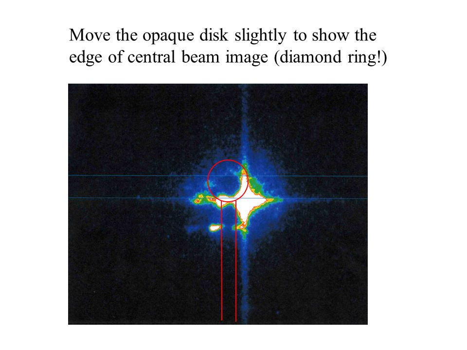 Move the opaque disk slightly to show the edge of central beam image (diamond ring!)