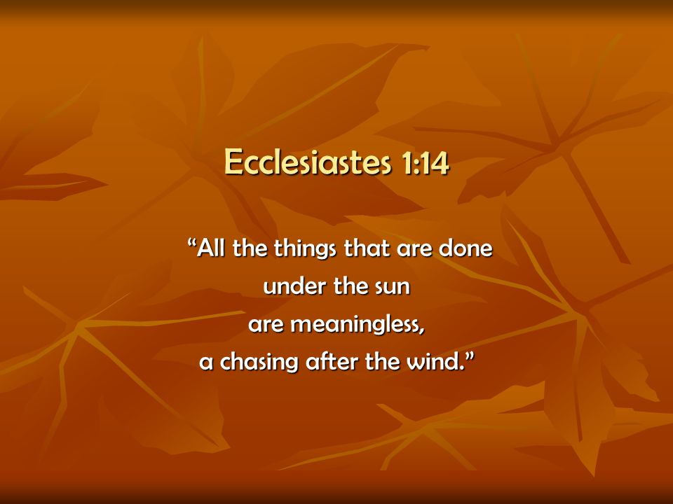 Ecclesiastes 1:14 All the things that are done under the sun